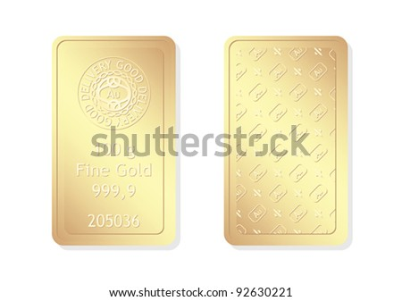 100g minted gold bar - stock vector