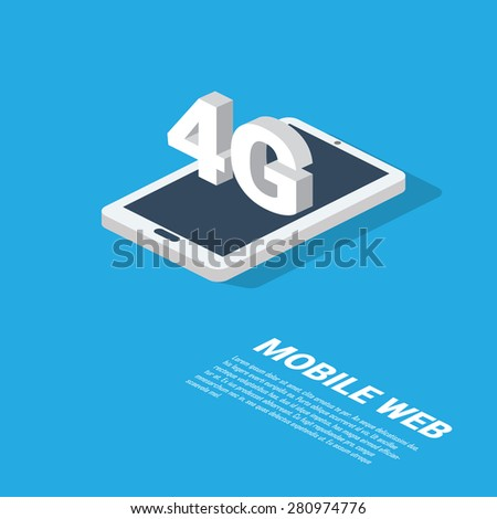 4g mobile web technology presentation. Modern isometric smartphone design with space for text. Eps10 vector illustration. - stock vector