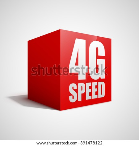 4G speed red cube. - stock vector
