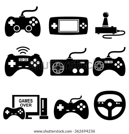 Game icons set vector - stock vector