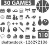30 games icons set, vector - stock vector