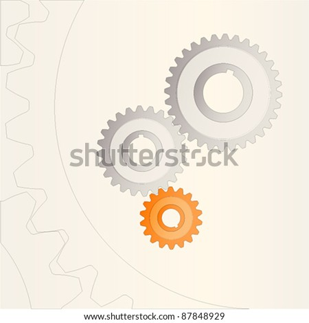 3 gears with  background - stock vector