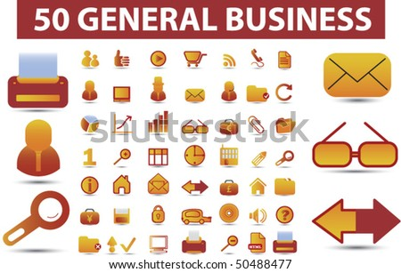 50 general business glossy signs. vector - stock vector
