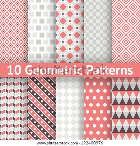 10 Geometric patterns (tiling). Set of vector seamless abstract vintage backgrounds. Retro red, grey and white colors. Endless texture can be used for printing onto fabric and paper. Elegant ornaments - stock vector