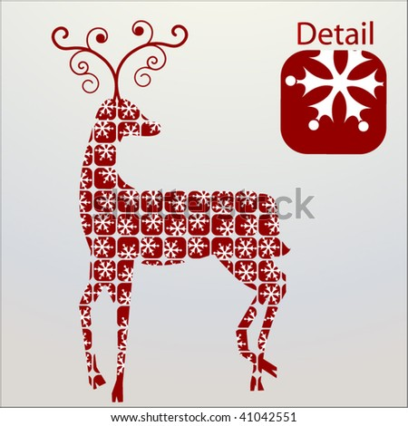 geometric reindeer with scattered seamless  pattern - stock vector