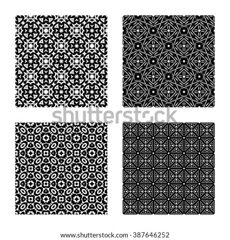 4 geometric seamless patterns set, black and white vector backgrounds collection.