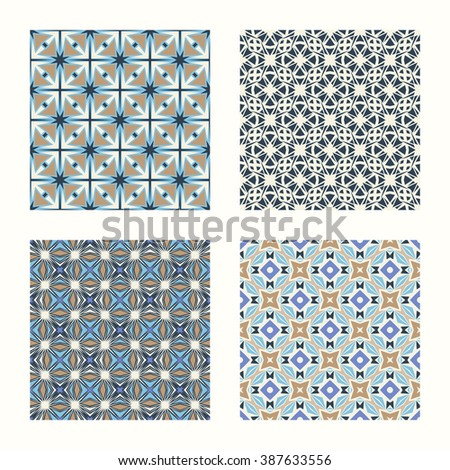 4 geometric seamless patterns set, retro style vector backgrounds collection.