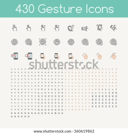 430 gestures icons for touch devices , hands holding smartphone - stock vector