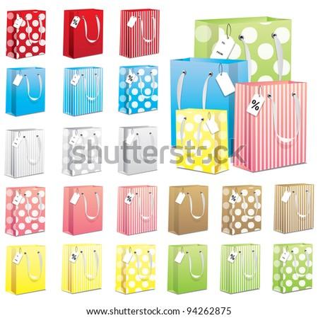 21 Gift Bags - stock vector