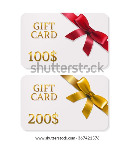2 Gifts Card With Bows With Gradient Mesh, Vector Illustration