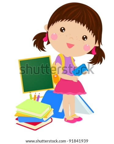 girl and book - stock vector
