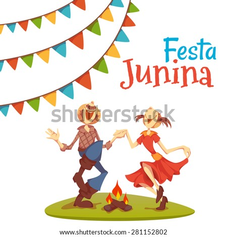 Girl and boy dancing at Brazil june party. Vector illustration. - stock vector
