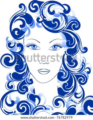 girl and sea - stock vector