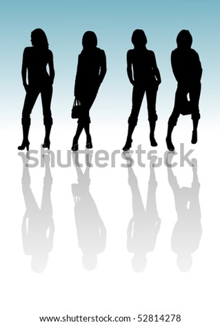 4 girl silhouette with reflection