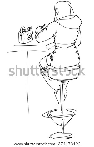 girl sitting at a table in a cafe on a high chair with his back to us