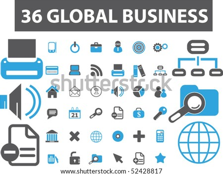 36 global business signs. vector