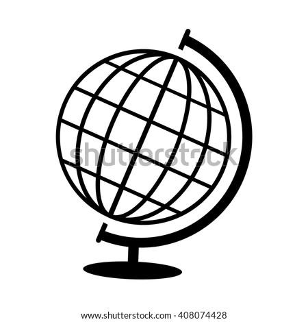 Globe Vector Icon.Black Globe On A White Background .