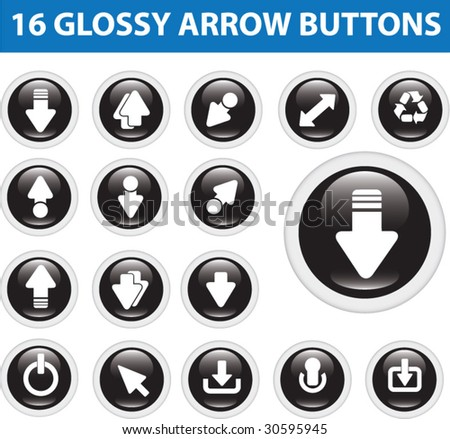 16 glossy arrow buttons.vector