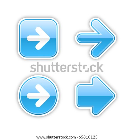 4 glossy arrow sign web 2.0 stickers. Blue button with gray shadow on white. 10 eps - stock vector