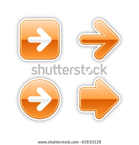 4 glossy arrow sign web 2.0 stickers. Orange button with gray shadow on white. 10 eps - stock vector