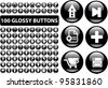 100 glossy black business. ,media web buttons set, vector - stock vector
