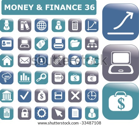 36 glossy finance buttons. vector - stock vector