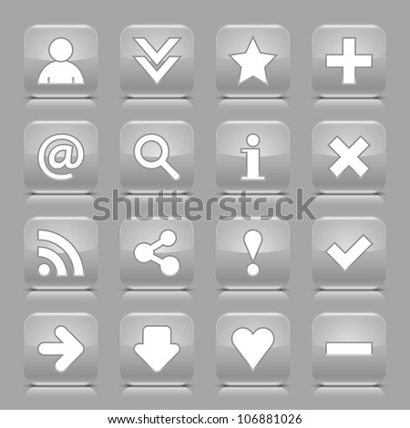 16 glossy gray button with white basic sign. Rounded square shape internet web icon with black shadow and reflection on light gray background. This vector illustration design elements saved 8 eps - stock vector
