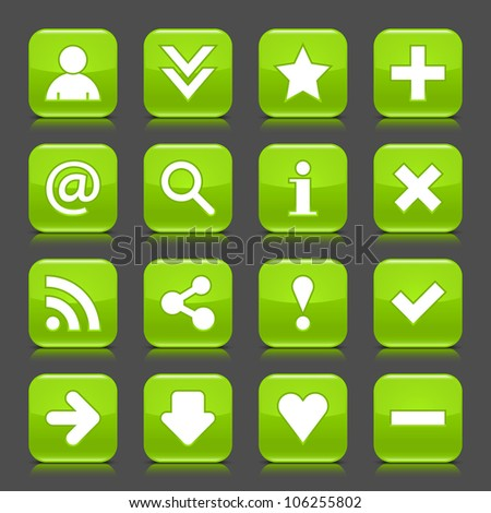 16 glossy green icon with basic sign. Rounded square shape internet web button with color reflection and black shadow on dark gray background. This illustration vector design elements saved 8 eps - stock vector