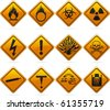 12 glossy hazard signs. The highlights are on one layer if a flat look is prefered. The signs have not been flattened and are broken up into layers for easy editing. - stock vector