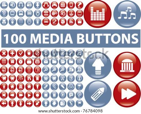 100 glossy media buttons, vector - stock vector