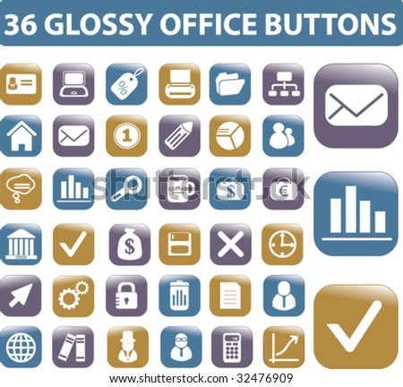 36 glossy office buttons. vector. - stock vector