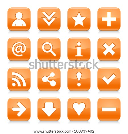 16 glossy orange button with basic sign. Rounded square shape internet web icon with black shadow and reflection on white background. This vector illustration design elements saved 8 eps - stock vector