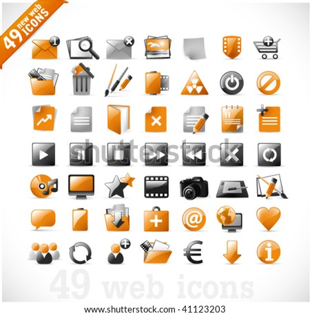 49 glossy web icons and design elements in orange and gray - set 2 - stock vector