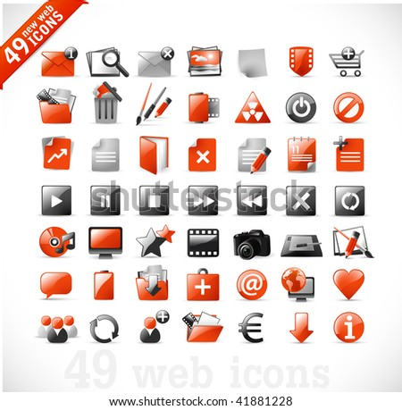 49 glossy web icons and design elements in RED and gray - set 2 - stock vector