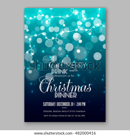 Glowing Lights. Holiday decoration garland. Merry Christmas party invitation