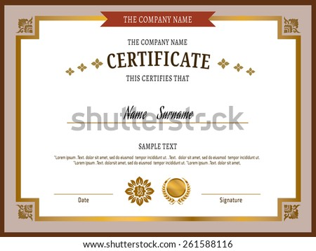 gold Certificate template .Vector illustration