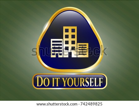 Gold emblem badge buildings icon do stock vector 742489825 gold emblem or badge with buildings icon and do it yourself text inside solutioingenieria Image collections