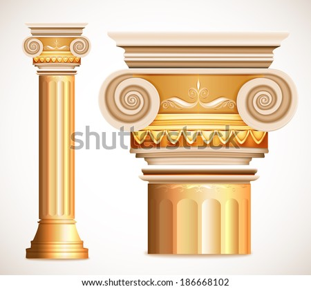 Gold greece column. Vector illustration - stock vector