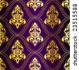 Gold-on-Purple seamless Indian pattern with dots (vector); a JPG version is also available - stock vector