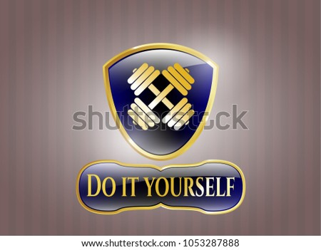 Gold shiny badge dumbbell icon do stock vector 1053287888 shutterstock gold shiny badge with dumbbell icon and do it yourself text inside solutioingenieria Image collections