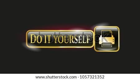 Golden badge printer icon do yourself stock vector 2018 1057321352 golden badge with printer icon and do it yourself text inside solutioingenieria Image collections