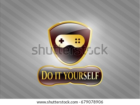 Gold badge video game icon ignore stock vector 723148099 golden emblem with video game icon and do it yourself text inside solutioingenieria Gallery