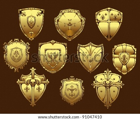 golden shields - stock vector