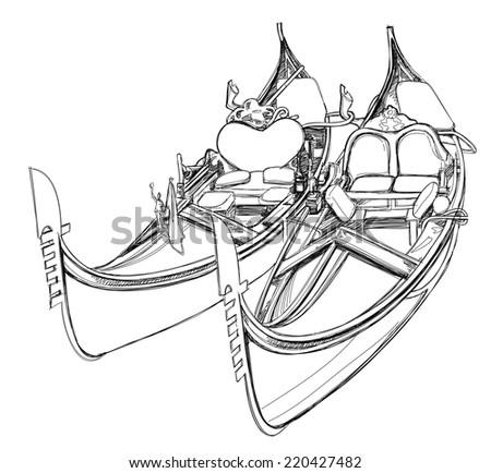 2 gondolas. Venice, Italy. Vector illustration - stock vector