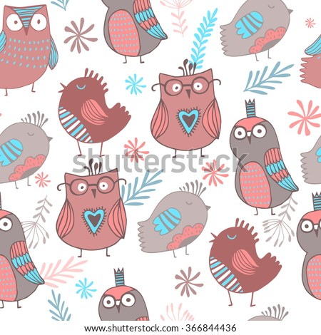 Gorgeous seamless with owl and floral background. - stock vector