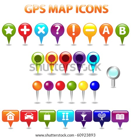 27 GPS Color Map Icons, Isolated On White Background, Vector Illustration - stock vector