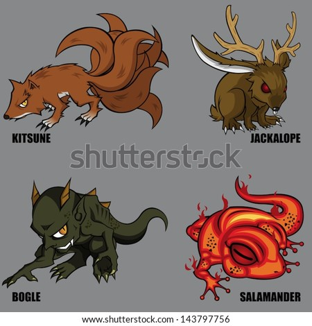 4 Graphic Vector Of Mythical Creatures Set 05 - stock vector
