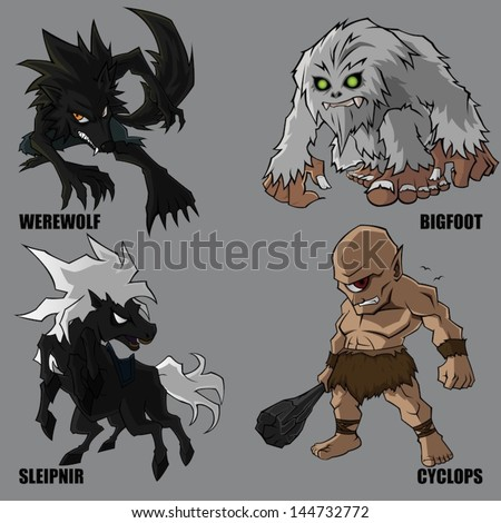 4 Graphic Vector Of Mythical Creatures Set 10 - stock vector