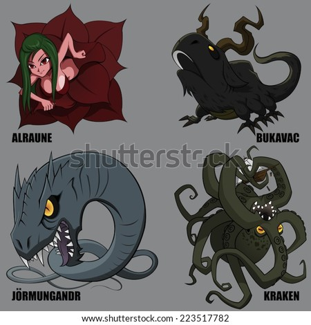 4 Graphic Vector Of Mythical Creatures Set 27 - stock vector