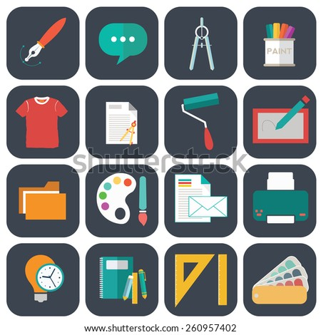 Graphic  web design icons flat style. - stock vector